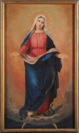 <h5>Vierge de l'Immaculée conception ou Vierge aux douze étoiles, foulant le serpent</h5><p>Emmanuel Soutter (attribuable à), deuxième moitié du XIXe siècle, 124 x 72, huile sur toile </p>