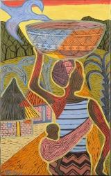 <h5>Femme et enfant, portant un plat sur la tête</h5><p>Thomas Kabula, 2013, 83 x 51, acrylique sur toile</p>