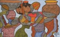 <h5>Personnages et formes</h5><p>Thomas Kabula, 2012, 50 x 82, acrylique sur toile</p>