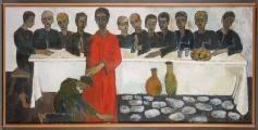 <h5>La Cène</h5><p>Suzanne Buchser, 1967, 204.5 x 100, huile sur toile</p>