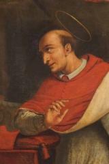 <h5>Saint Charles Borromée</h5><p>Jacques Courtois, première moitié du XVIIe siècle, 204 x 117.5, huile sur toile, Detail</p>