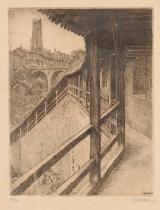 <h5> Les remparts vers la tour des Chats</h5><p>Henri Robert, 1937, 36.5 x 29.5, eau-forte</p>