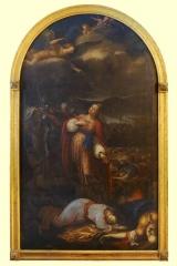 <h5>Le Martyre de Sainte Ursule et des compagnes</h5><p>Jacques Courtois, 1655, 248.5 x 147, huile sur toile</p>