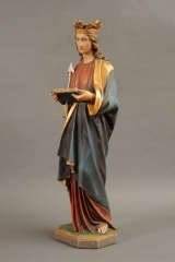 <h5>Saint Ursule</h5><p>non signé, fin du XIXe siècle - début du XXe siècle, 87.5 (hauteur) x 25.5 (largeur), plâtre polychromé, doré</p>