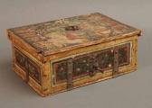 <h5>Coffret</h5><p>non signé, dernier tiers du XVIe siècle, 12.5 (hauteur) x 30 (largeur) x 21 (profondeur), bois polychromé, fer forgé (montant, clé, penture, serrure)</p>