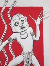 <h5>Art océanien contemporain</h5><p>Jane Wena, Mudman Mekim Poret (le Mudman effrayant),  2002, 21 x 15, encre sur papier</p>